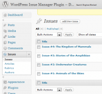 WordPress Issue Manager Screenshot